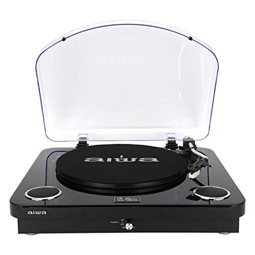 AIWA GBTUR-120BK Plattenspieler, Bluetooth, 3 Geschwindigkeiten, FM-Radio, Schwarz