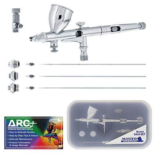 Master Airbrush G444-SET High Precision Detail Control Dual-Action Gravity Feed Airbrush Professional Set and Includes ARC Link Card
