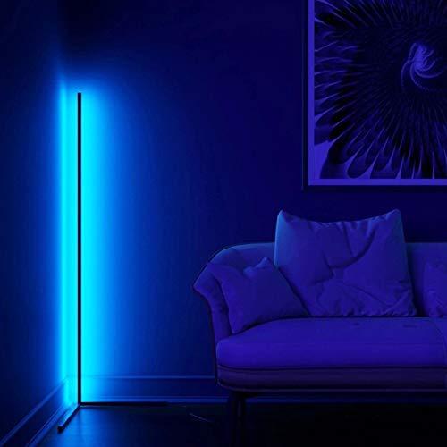 LED Stehlampe Eck standleuchte Innenatmosphäre Lampe RGB Einstellbare Helligkeit mit Fernbedienung für Wohnzimmer Schlafzimmer,Schwarz