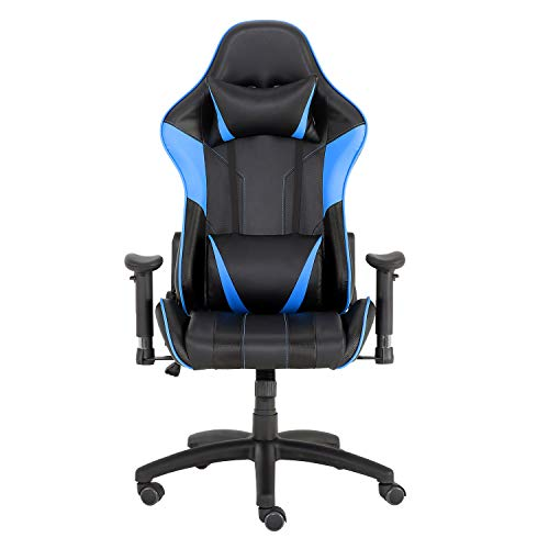 YJCFurniture Gaming Chair Racing Office Computer Game Chair Ergonomic Backrest and Seat Height Adjustment Recliner Swivel Rocker with Headrest and Lumbar Pillow Chair (Blue-1)