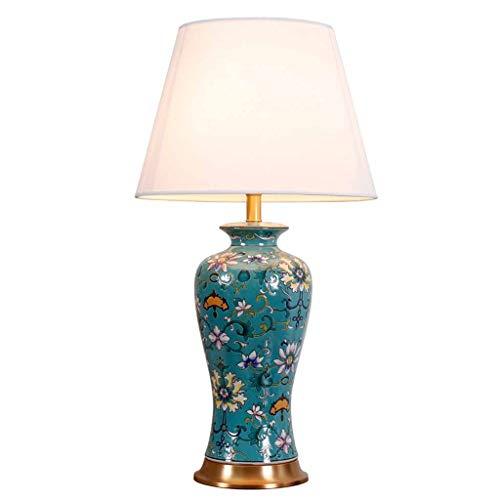 YYQIANG European Style Tabel Desk Lamp Luxurious bed nachtkastje Lamp, groene keramische vaas met witte stoffen kap, Koper Metal Base, Groot for Office Bedroom Side Table Bedside, 66cm