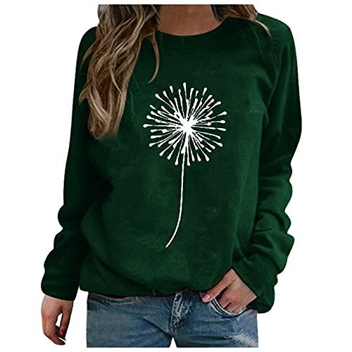 Cloodut Neu Damen Pullover Langarmshirt Plus Size Herbst Winter Sweatshirt Rundhals Casual Lose Pulli Oberteile(Grün,M)