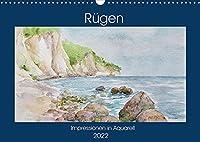 Ruegen Impressionen in Aquarell (Wandkalender 2022 DIN A3 quer): Ruegen, Deutschlands groesste Insel mit faszinierender Natur und malerischen Landschaften. (Monatskalender, 14 Seiten )