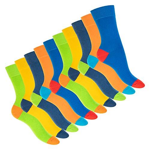Footstar Damen und Herren Baumwoll-Socken (10 Paar) mit abgesetzter Ferse und Spitze - Multicolor 43-46