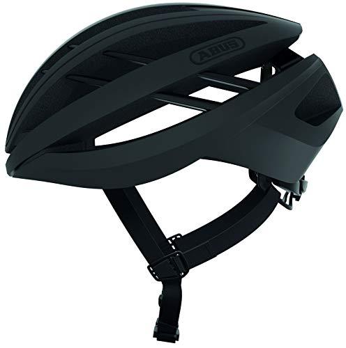 ABUS Aventor Rennradhelm - Sehr gut belüfteter Fahrradhelm für professionellen Radsport für Damen und Herren - 77615 - Schwarz Matt, Größe S