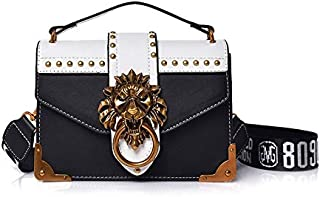 Adebie - Fashion Metal Lion Head Mini Small Square Pack Shoulder Bag Crossbody Package Clutch Women Designer Wallet Handbags Bolsos Mujer Black []