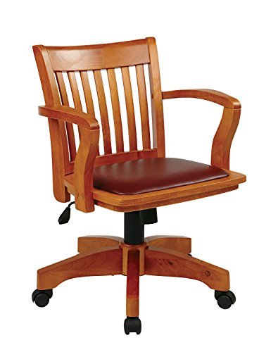 Office Star Deluxe Wood Bankers Desk Chair with Brown Vinyl...