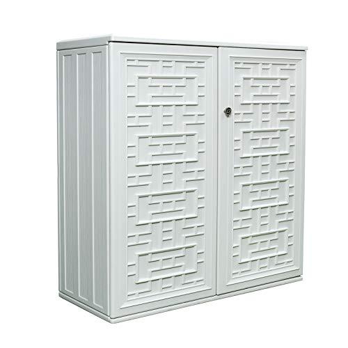ADDOK 60-Gallon Storage Cabinet Lightweight Resin Indoor/Outdoor Storage Unit for Patio, Garden, Veranda(With 2 Laminate Shelves) (ivory white)