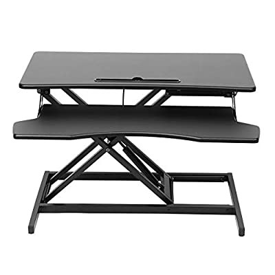 Zerodis Computer Lifting Desk, Height Adjustable Standing Desk Riser Stand Up Desk Converter with Keyboard Tray for Home, Office