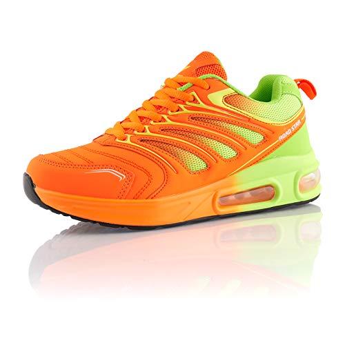Fusskleidung® Damen Herren Sportschuhe Dämpfung Sneaker leichte Laufschuhe Grün Orange EU 41