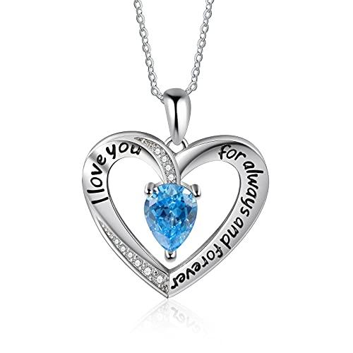 CusGifta Collar con piedra natal de corazón para mujer, collar con colgante de corazón, regalo de joyería para mamá, novia, esposa, cumpleaños, aniversario   Día de la Madre