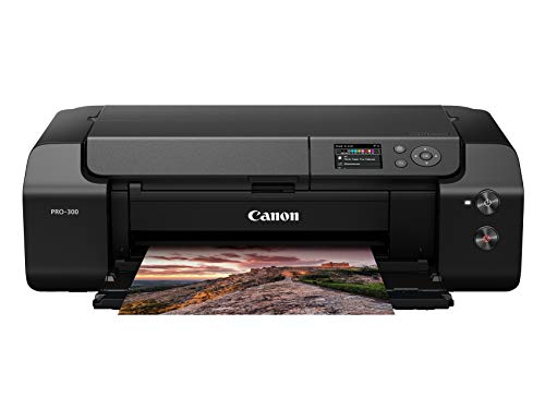 """Canon imagePROGRAF PRO-300 Wireless Color Wide-Format Printer, Prints up to 13""""X 19"""", 3.0"""" LCD Screen with Profession Print & Layout Software and Mobile Device Printing, Black"""