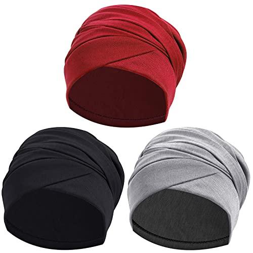 Ever Fairy Turban Head Wrap Scarf,African Women' Soft Long Scarf Shawl Hair Bohemian Headwrap Stretch Headband Tie (Set A-Black+Grey+Red)