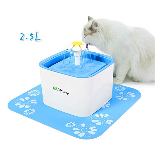 isYoung Water Fountain Cats Silent Fountain 2.5L for Dogs and Cats Automatic Water Fountain for Pet Water 3 Modes Adjustable and with 2 Filters