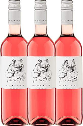 VINELLO 3er Weinpaket Rosé - Der kleine Bär Rosé 2019 - Oliver Zeter mit Weinausgießer | trockener Roséwein | deutscher Sommerwein aus der Pfalz | 3 x 0,75 Liter