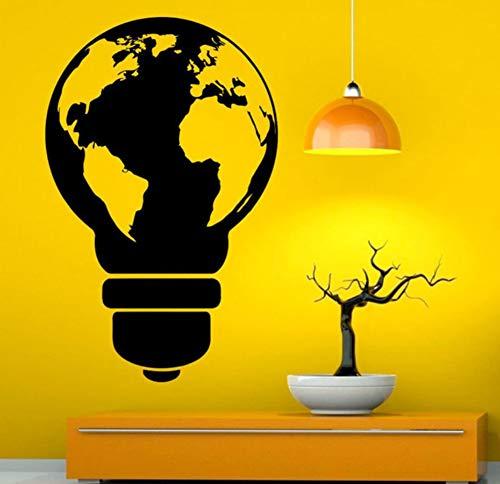 Ampoule Style Carte Du Monde Mur Decal De Vinyle Autocollant Art Design Murales Conception Intérieur Décoration De La Maison Pour Salon Diy 57X89Cm