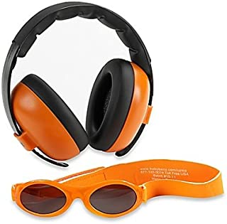 Baby Banz Earmuffs Infant and Toddler Hearing Protection Headphones - Packaged with BANZ Sunglasses Ages 0–2 Years – Ultimate Child Ear and Eye Protection – Stop Noise – Block Sun (Orange)