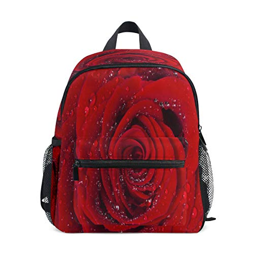 LILIFE Valentine Red Rose Flower Kids Backpacks Book Bag Water Resistant Elementary School Bags with Chest Clip Travel Hiking Rucksack Snack Diapers Daypack for Children Boys Girls