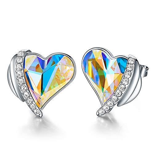 CDE Pendientes Mujer Chapados en Oro Rosa u Oro Blanco Aretes de Corazón de Amor de San Valentín joyería regalo para Mujer Madre Esposa(multicolor)