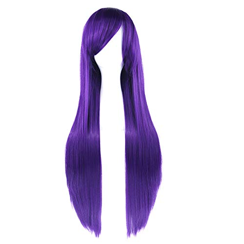 Milopon Peluca para mujer, peluca larga natural, para cosplay, color morado oscuro