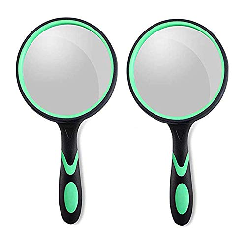 2Pack Magnifying Glass 10X, 75MM Large Magnifying Lens,Non-Slip Handled...