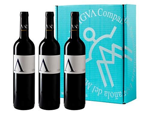A de ANTIGVA Tempranillo - Vino Tinto Joven de la Tierra de Castilla - La Mancha - Estuche 3 Botellas x 750 ml