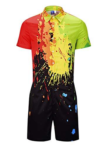 EverNight Heren Zomer Werkkleding Coveralls Inkt Print Korte Mouw Een Stuk Werkkleding Casual Shirt Street Werkkleding Jumpsuit