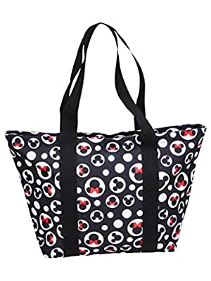 Disney Tote Mickey & Minnie Mouse Icon Polka Dot Print Travel Bag Black