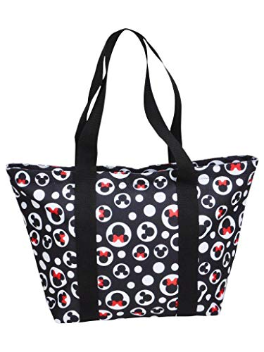 Disney Tote Mickey & Minnie Mouse Icon Polka Dot Print Travel Bag Black