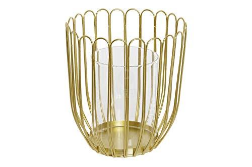 Item International - Portavelas de metal y cristal, color dorado, 12 x 14,5 cm