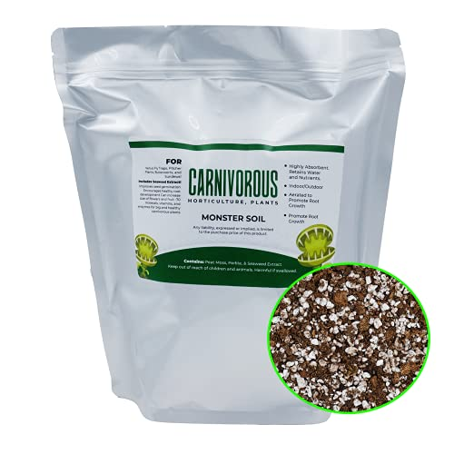Grow Bigger Venus Fly Traps - Carnivorous Plant Soil with Seaweed Extract, 4 Quarts, Sphagnum peat Moss with Perlite for Fast Growth Venus Fly Trap Soil Mix