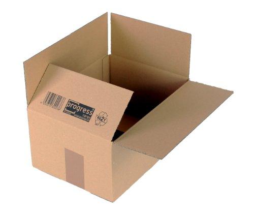 progressCARGO Wellpapp-Faltkarton PC K10.03, 1-wellig, DIN A4, 304 x 217 x 150 mm, 20-er Pack, braun