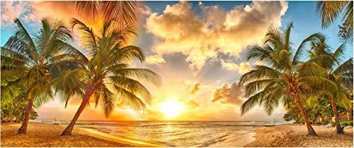 MINCOCO behang aanpassen behang muurschildering HD groot zee avond zon cocos landschap woonkamer slaapkamer achtergrond muur 430x300cm(169.3x118.1inches)