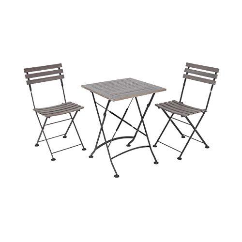 Butlers Street Life - Set für 2 Personen - Klappstuhl und Klapptisch in Grau - für Balkon und Garten - Frühling und Sommer