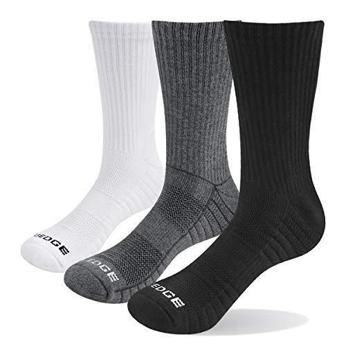 YUEDGE Mens 3 Pairs Wicking Breathable Cushion Anti Blister Casual Crew Socks Outdoor Multi Performance Hiking Trekking Walking Athletic Socks WhiteGreyBlack Men Shoe 6 9 UK Size