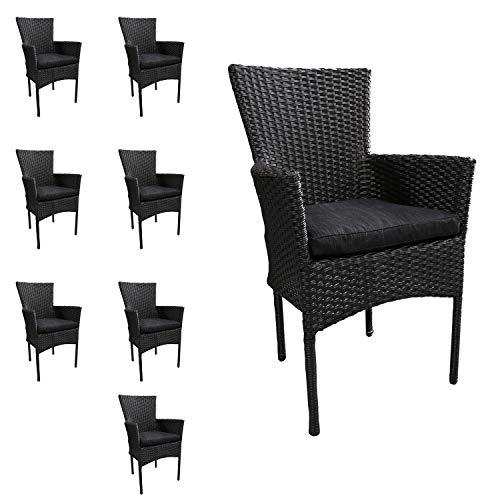 Mojawo 8 stuks mooie rotan stoel stapelbaar rieten tuinstoel zwart stapelstoel met stoelkussen