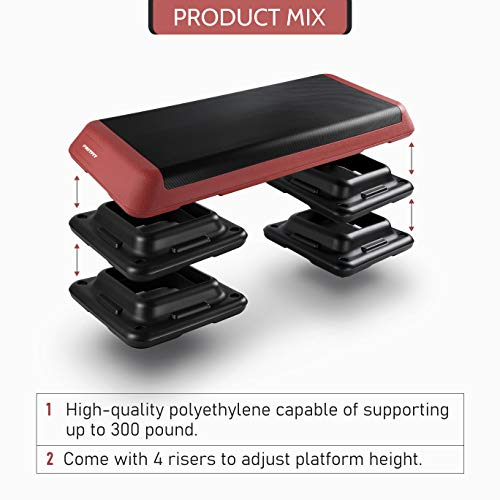 RitFit Adjustable Exercise Step Platform with 4 Risers, Gym-Sized Step for Building Strength, Reducing Fat and Aerobic Exercise (Coral red)