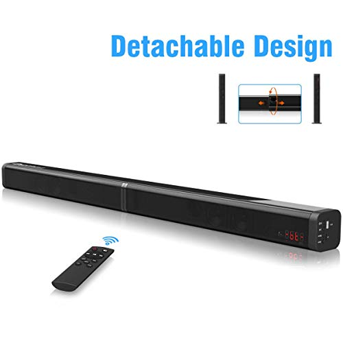 Sound Bar Excelvan 40W Detachable Wireless Soundbar with Built-in Subwoofer, AUX Cable and Optical Cable, USB Input, TF Card Slot, Remote Control for TV/PC/Tablet/Smartphone