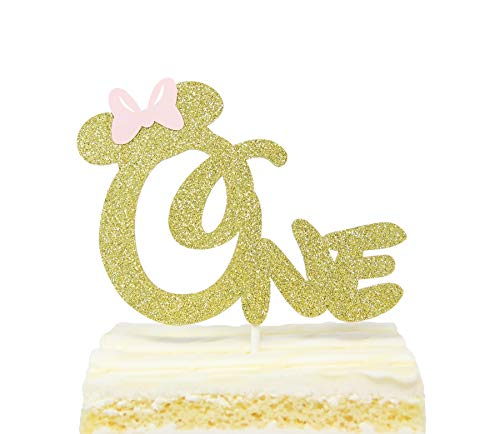 First 1st One Year Birthday Cake Topper - Gold Glitter Minnie Mouse Bow, Birthday Cake Topper