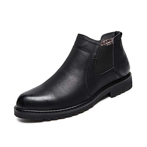 JCCOZ - URG - Botines de moda para hombre, estilo informal, estilo de negocios, con costuras de color sin adulterar, botas URG (color: negro, talla: 39 EU)
