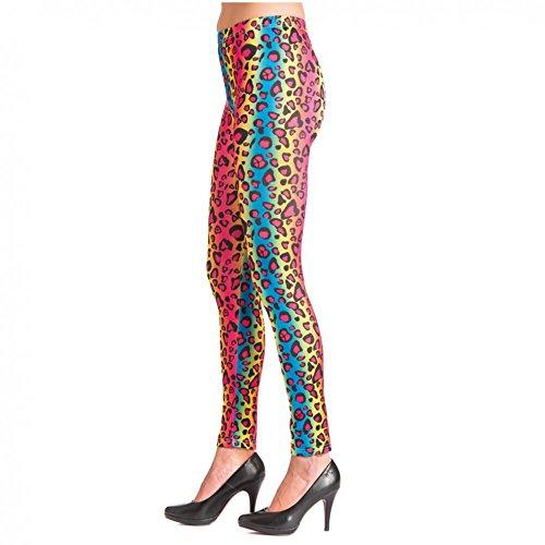 Orlob Handelsgesellschaft Legging Leopard bunt Gr.S - XL Damen Kostüm 80er 90er Fasching Karneval Neonparty (S/M)