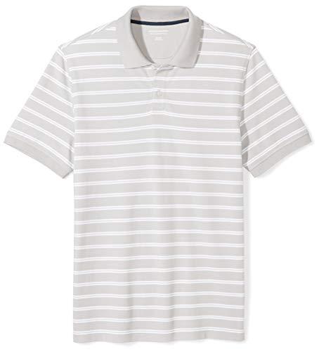Amazon Essentials Men's Slim-Fit Striped Cotton Pique Polo Shirt, Grey Stripe, Medium Cotton Business Men Casual Shirt