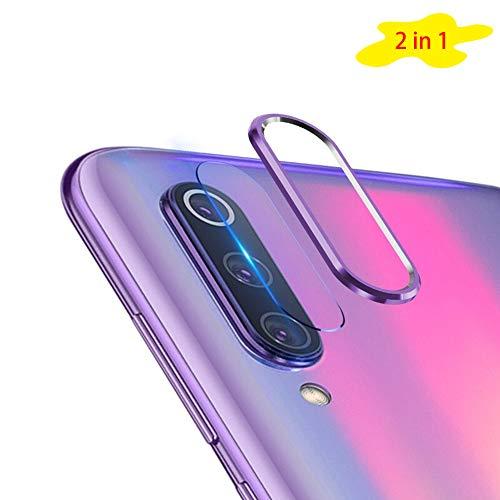 NOKOER Protector de Lente de Cámara para Xiaomi Mi 9 SE, [2 en 1] Anillo Protector Metálico para la Cámara + Película Protectora para la Cámara, Lente de la Cámara de Protección de 360 Grados - Morado