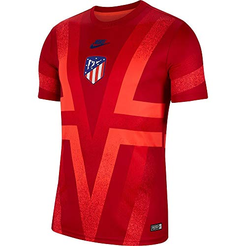 Nike 2019-2020 Atletico Madrid CL Pre-Match Dry Training Football Soccer T-Shirt Trikot (Red)