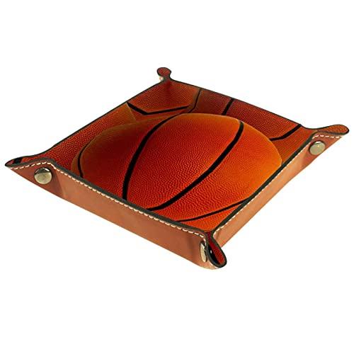 Organizador de canastas de cuero baloncesto para la mesa de estar del escritorio del tocador