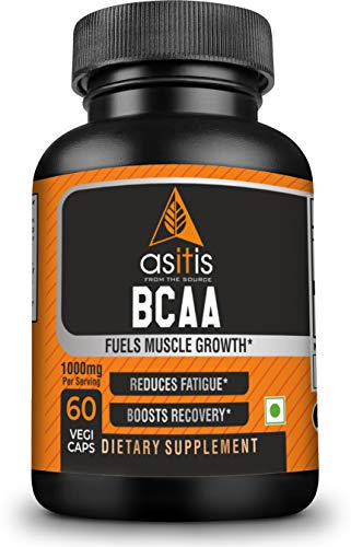 AS-IT-IS Nutrition BCAA 100% Pure Powder | Pre/Post Workout Bodybuilding Supplement (60 Capsule)