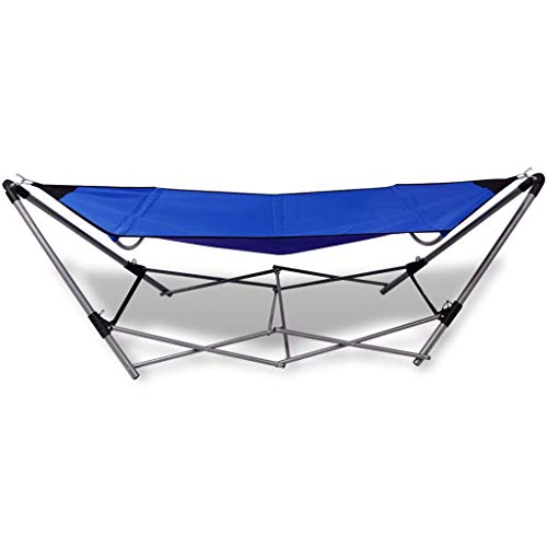 Keenso Portable Hammock, Outdoor Folding Hanging Swing Chair Camping Hammock with Steel Stand Ideal for Patio Backyard Beach Blue