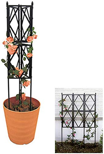 Y DWAYNE Garden Trellis Obelisk Plant Support Plant Stand Wire Lattice Grid Panel Stake Fence,for Climbing Plants,Potted Vines Vegetables (2 Use),90cm