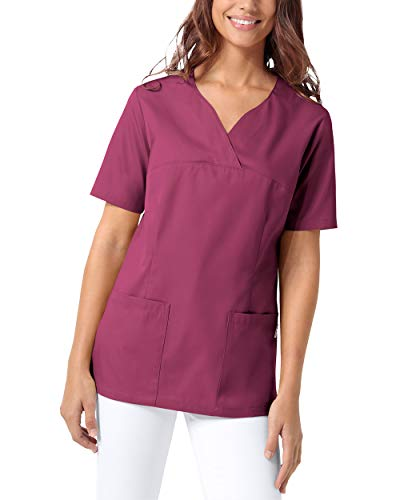 CLINIC DRESS Schlupfkasack Damen Kasack für die Pflege 1/2 Arm Regular Fit 50% Baumwolle 95 Grad Wäsche Berry M
