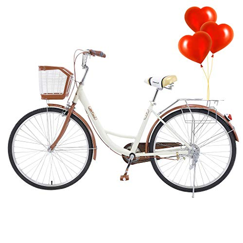 26'' Classic Bicycle Retro Bicycle, Women's Cruiser Bike, Beach Cruiser Bicycle, Unique Art Deco Scooter, Seaside Travel&Commuter Bicycle W/Comfortable Seats and Baskets & Back Seats (Beige)
